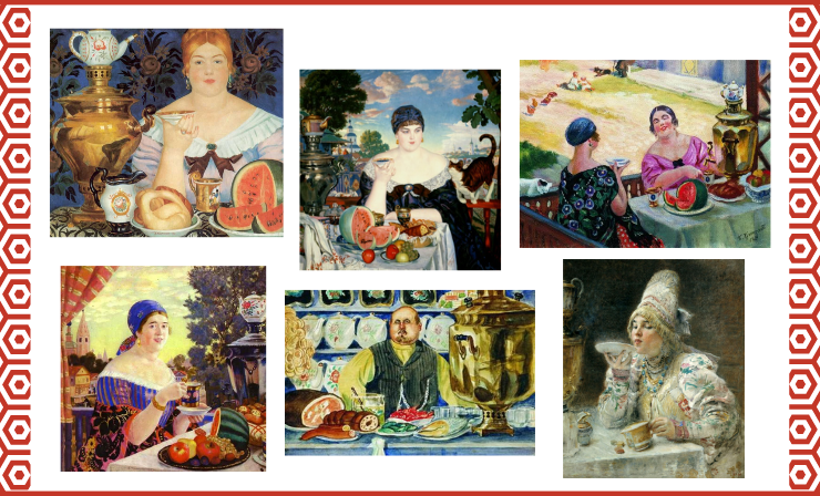 """The Most Popular Samovar Piece of Art Is """"Merchant's Wife at Tea"""" by Boris Kustodiev (in the Middle)"""