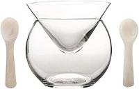 Glass Caviar Chiller Server Set and 2 Caviar Spoons